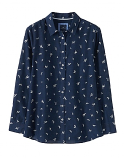 Silk Printed Shirt in Navy