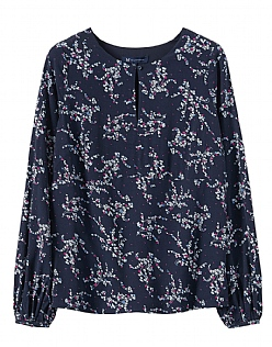 Ditsy Keyhole Top  in Navy