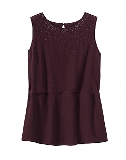 Beaded Top in Damson Purple
