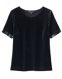 Velvet T-Shirt in Dark Navy
