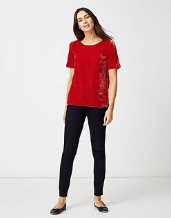 Velvet T-Shirt in Flame Red
