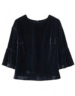 Velvet Bell Sleeve Top in Dark Navy