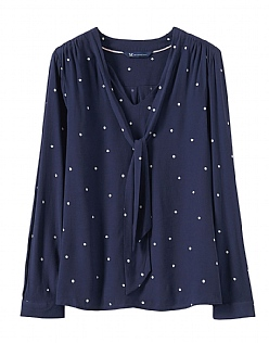 Bow Neck Top in Navy
