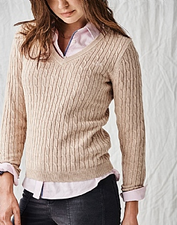 Heritage Cable Jumper in Almond Marl