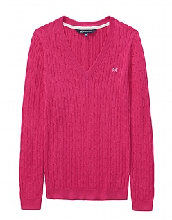 Heritage Cable Jumper in Fuschia- Cashmere Blend