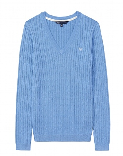 Heritage Cable Jumper in Light Indigo Blue Marl