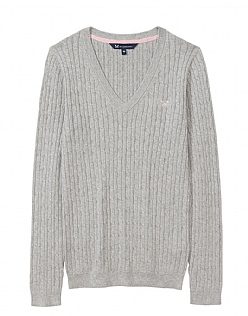 Heritage Cable Jumper in Silver Grey Marl