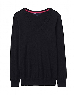 Foxy V Neck Jumper in Black
