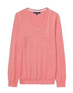 Foxy V Neck Jumper in Spiced Coral Marl