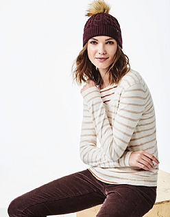 Foxy V Neck Jumper in White Almond Stripe