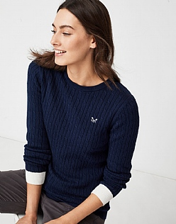 Heritage Cable Jumper in Navy