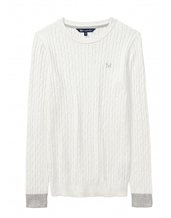 Heritage Cable Jumper in White Linen