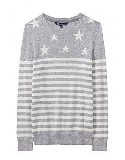 Star Breton Jumper in Chalk Grey Stripe