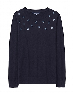 Sequin Spot Jumper in Dark Navy- Cashmere Blend