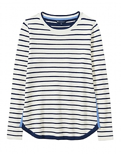 Stripe Mix Jumper in Navy