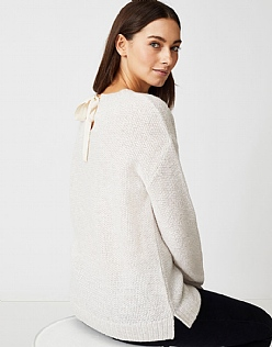 Bowback Sparkle Jumper in White