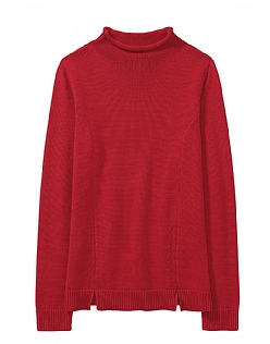 Funnel Neck Split Hem Jumper in Molten Red