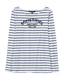 Embroidered Breton T-Shirt in White
