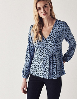 Long Sleeve Wrap Top in Blue Hydrangea Print