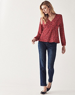 Long Sleeve Wrap Top in Red Aubergine