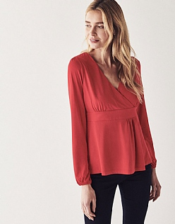 Long Sleeve Wrap Top in Red