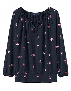 Posy Jersey Top in Posy Navy Print