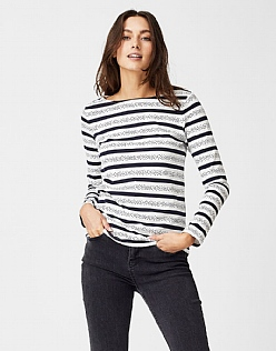 Spot Stripe Breton T-Shirt in White Linen