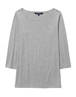 Cassie Top In Light Grey Marl