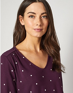 Long Sleeve Elly Top in Aubergine