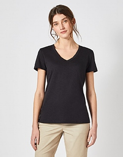 Classic V Neck T-Shirt in Black