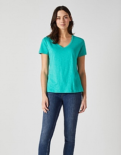 Classic V Neck T-Shirt in Jade Green