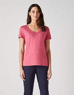 Classic V Neck T-Shirt in Watermelon Pink