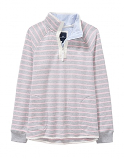 Half Zip Sweatshirt in Grey Marl/Pink Stripe