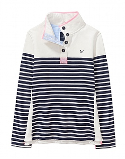 Half Button Sweatshirt in White Navy Stripe