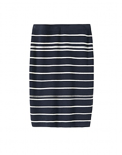 Stripe Milano Knitted Skirt in Dark Navy
