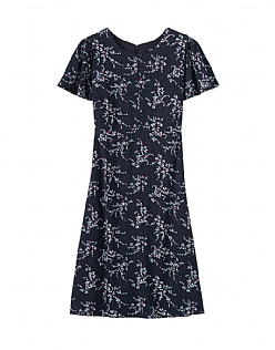 Woven Tea Dress in Navy