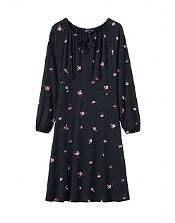 Posy Jersey Dress in Navy