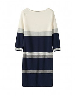 Stripe Milano Knitted Dress  in Grey Stripe