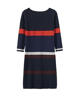 Stripe Milano Knitted Dress  in Navy