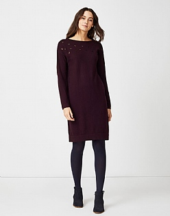 Sequin Knitted Dress in Fresh Damson