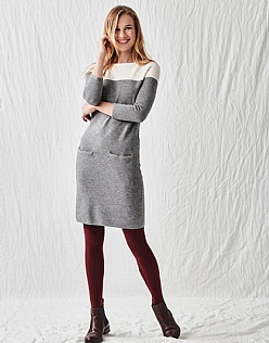 Colour Block Dress in Charcoal Grey