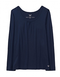 Ruched Pyjama Top in Navy