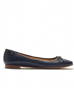 Leather Ballet Pump in Navy