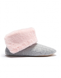 Fold Over Slipper Boot in Grey