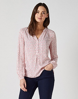 Tie Cuff Blouse in Heart Print