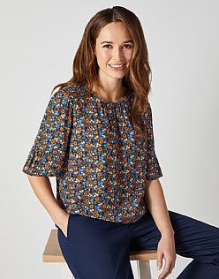 Fluted Sleeve Top in Flowerbed
