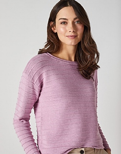 The Salcombe Jumper in Hollyhock Pink