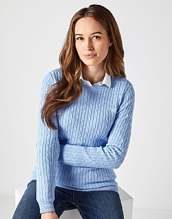 Heritage Cable Crew Neck Jumper in Serene Blue