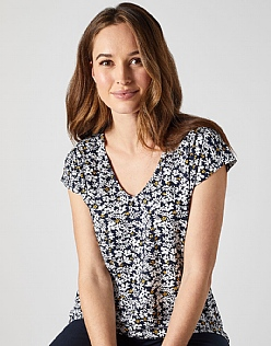 V Neck Elly Top in Navy Print