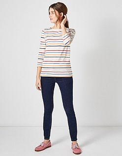 Essential Breton T-Shirt in White Multi Stripe
